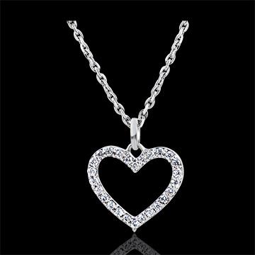 Pandantiv Abundenţă - Inimă Fermecată - aur alb 18K şi diamante