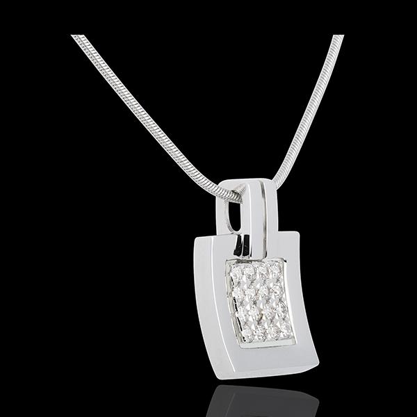 Pandantiv amprentă aur alb de 18K pavat - 0.24 carate - 16 diamante