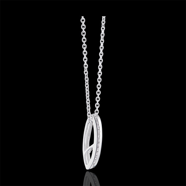 Pandantiv Cartoucha - aur alb de 9k și diamante