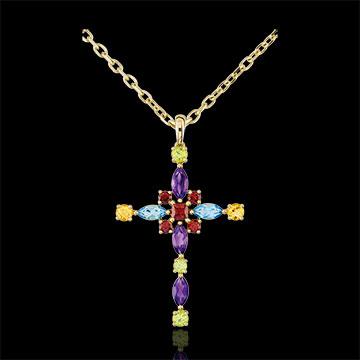 Pandantiv Cruce Bizantină multicoloră - aur galben de 9K