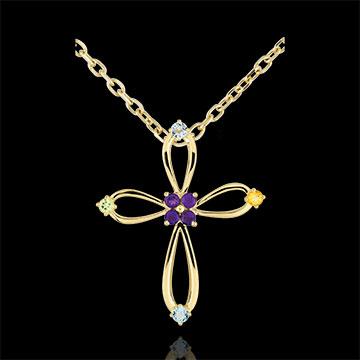 Pandantiv Cruce Bizantină rotunjită - aur galben de 9K