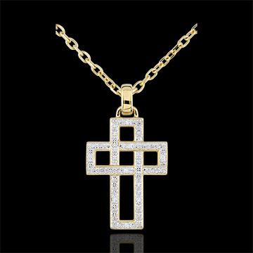 Pandantiv Cruce geometrică diamante - aur galben de 9K