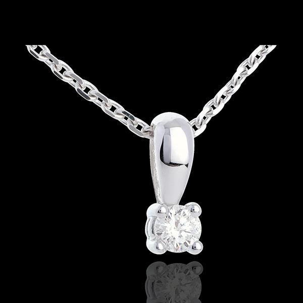 Pandantiv cu diamant şi anou din aur alb de 18K - 0.2 carate