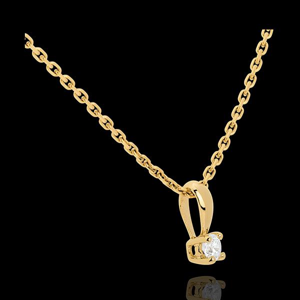 Pandantiv cu diamant şi anou din aur galben de 18K - 0.16 carate