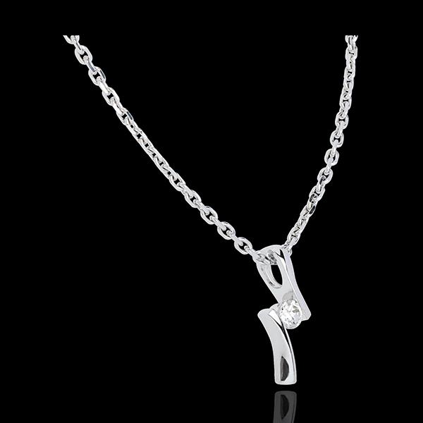 Pandantiv Cuib Preţios - Diamant Apostrof - aur alb de 18K - 0.09 carate