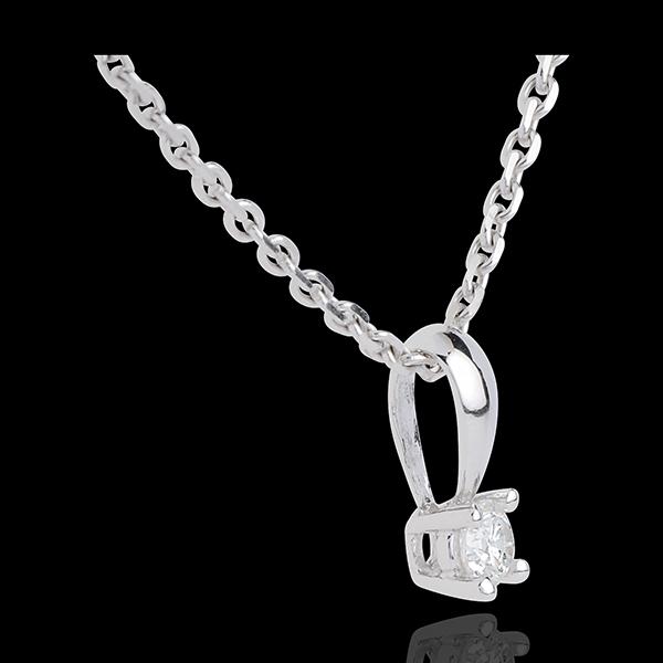 Pandantiv diamant cu anou din aur alb de 18K - 0.16 carate