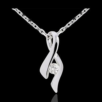 Pandantiv Infinit aur alb de 9K - diamant 0.13 carate