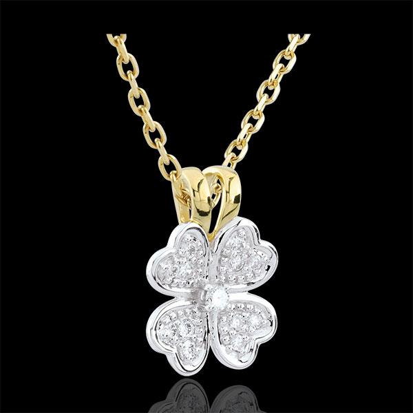 Pandantiv Înflorire - Treflă Tandră - diamante - aur alb şi aur galben de 9K