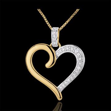 Pandantiv Inimă Amazoniană - aur alb şi aur galben de 18K
