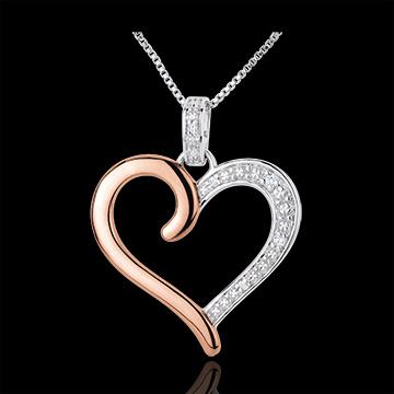 Pandantiv Inimă Amazoniană - aur alb şi aur roz de 9K