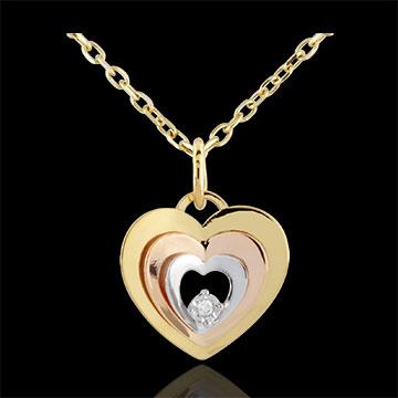 Pandantiv Inimă Budoar - trei nuanţe de aur de 9K