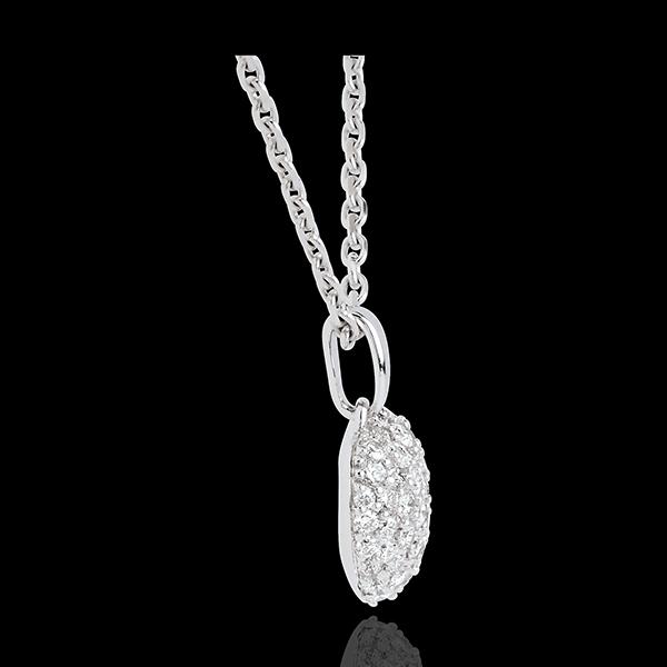 Pandantiv inimă din aur alb de 18K pavat - 0.67 carate - 50 de diamante