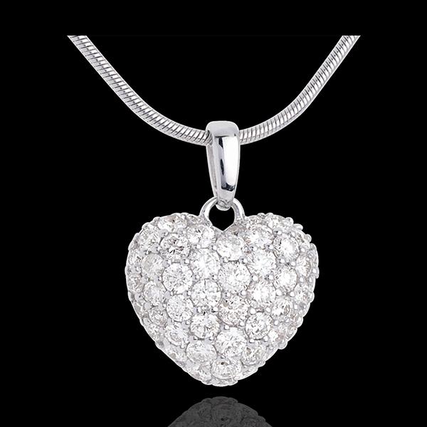 Pandantiv inimă din aur alb de 18K pavat TGM - 1.04 carate - 50 de diamante