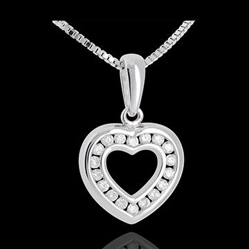Pandantiv inimă în abis - aur alb de 18k pavat - 0.25 carate - 18 diamante