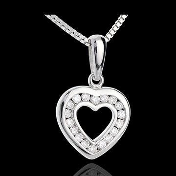Pandantiv inimă în abis - aur alb de 9k pavat - 18 diamante - 0.18 carate