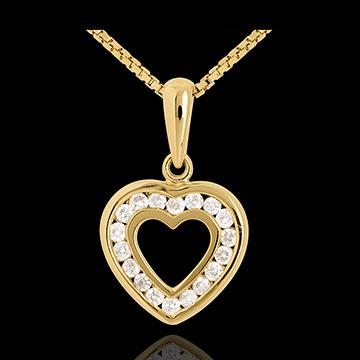 Pandantiv inimă în abis - aur galben de 18k pavat - 18 diamante - 0.18 carate