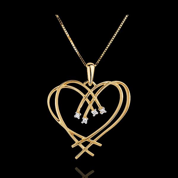 Pandantiv Inimă scânteie - 4 diamante - aur galben de 18K