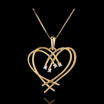 Pandantiv Inimă scânteie - 4 diamante - aur galben de 9K
