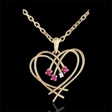 Pandantiv Inimă scânteie - diamant şi rubin - aur galben de 9K