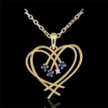 Pandantiv Inimă scânteie - diamant şi safire - aur galben de 9K