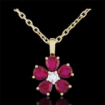 Pandantiv Maria Flora - rubine - aur galben de 9K