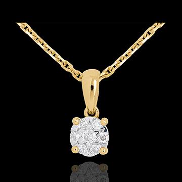 Pandantiv pavat şi anou din aur galben de 18K - 0.14 carate - 7 diamante