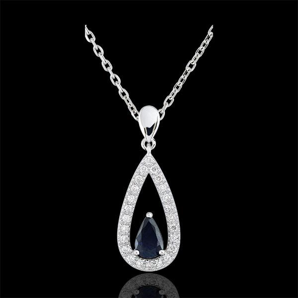 Pandantiv picătură Soraya - safire şi diamante - aur alb de 9K