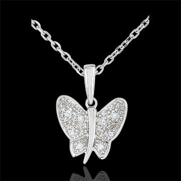 Pandantiv Plimbare Imaginară - Fluture Cântăreţ - aur alb de 9K