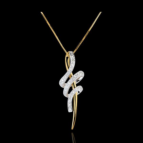Pandantiv şarpe înnodat - aur alb şi aur galben de 18K
