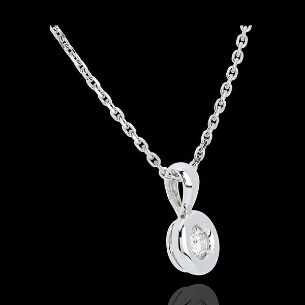 Pandantivul Caliciu cu diamant şi anou - 0.18 carate - aur alb de 18K