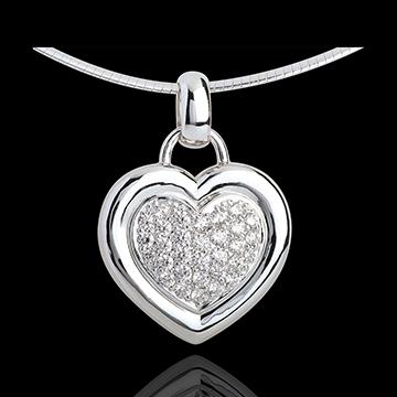 Paved white gold heart pendant - 0.75 carat - 31 diamonds
