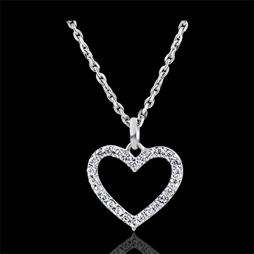 Pendant Abundance - Enchanted Heart - white gold 9 carats and diamonds