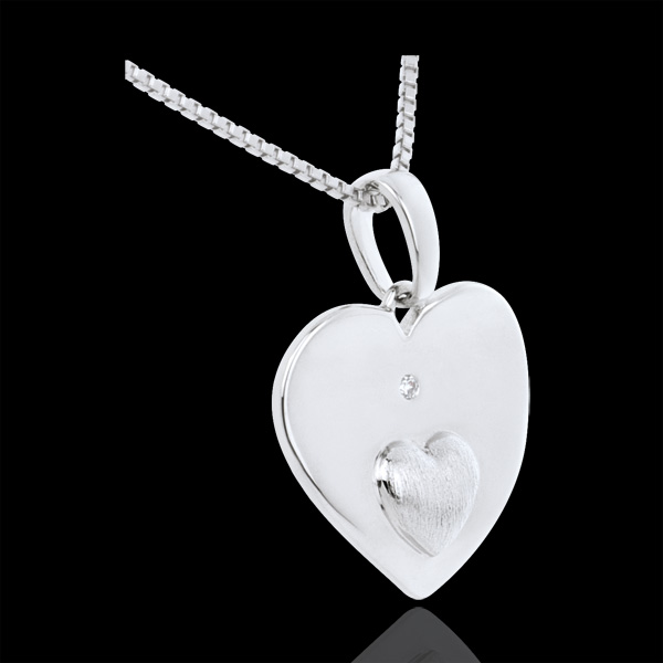 Pendant Hearts Together - White gold