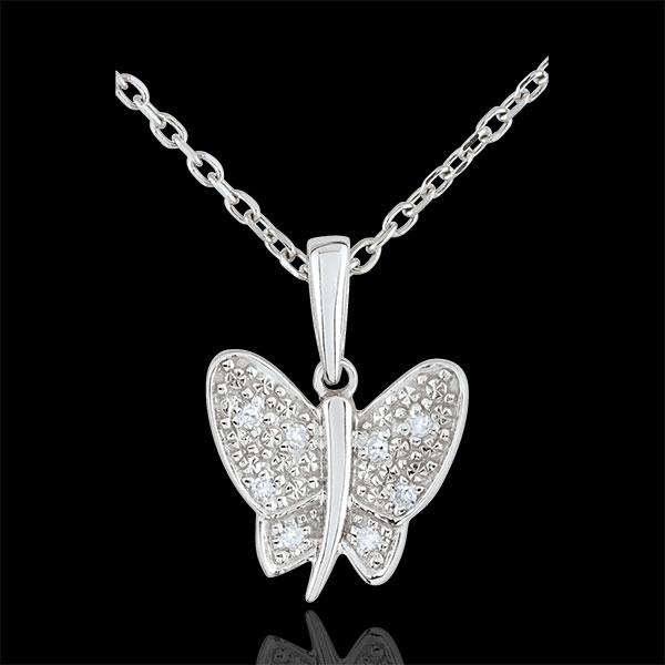Pendant Imaginary Walk - Butterfly Musician - White Gold