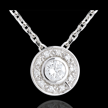 Button Pendant white gold - 0.25 carat