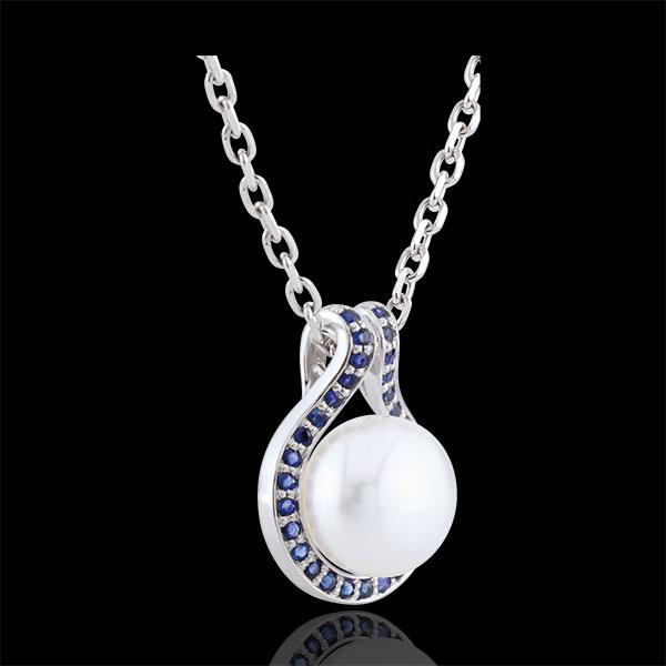 Pendentif Adélie - perles et saphirs - or blanc 9 carats