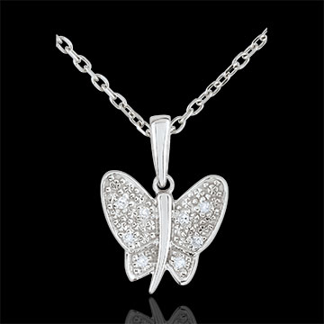 Pendentif Balade Imaginaire - Papillon Musicien - or blanc 9 carats