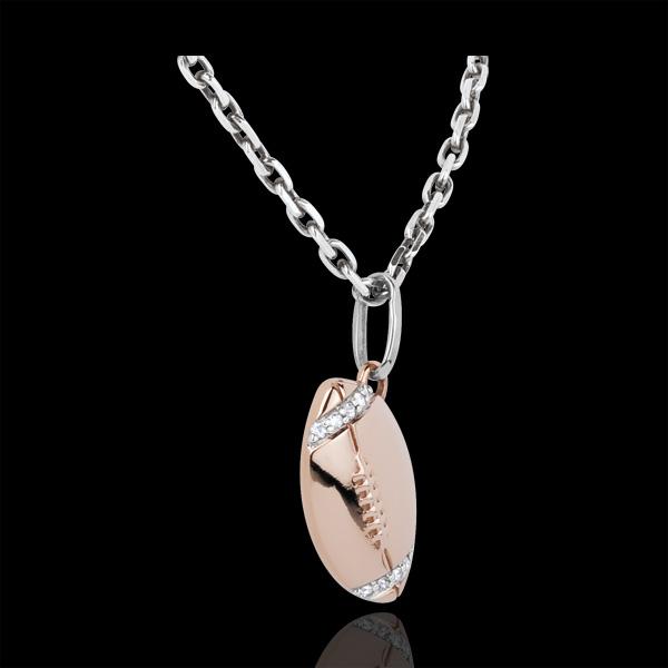 Pendentif Ballon de rugby - or blanc et or rose 18 carats et diamants