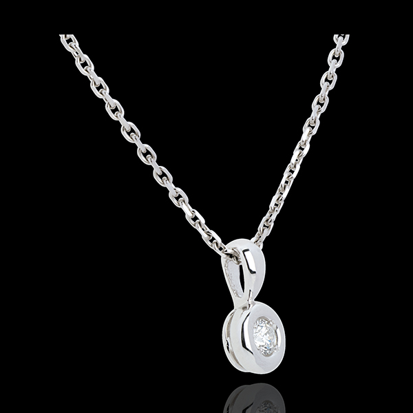 Pendentif Calice diamant belière - 0.14 carat - or blanc 18 carats