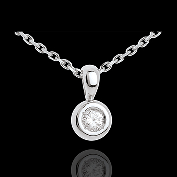 Pendentif Calice diamant belière - 0.18 carat - or blanc 18 carats