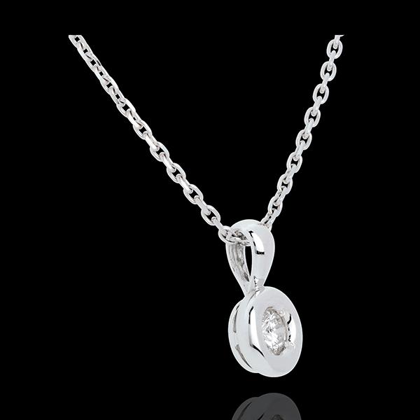 Pendentif Calice diamant belière - 0.23 carat - or blanc 18 carats