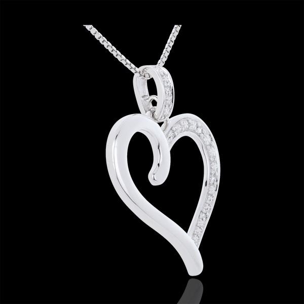 Pendentif Coeur Amazone or blanc 18 carats