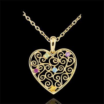 Pendentif Coeur Dentelle - or jaune 9 carats