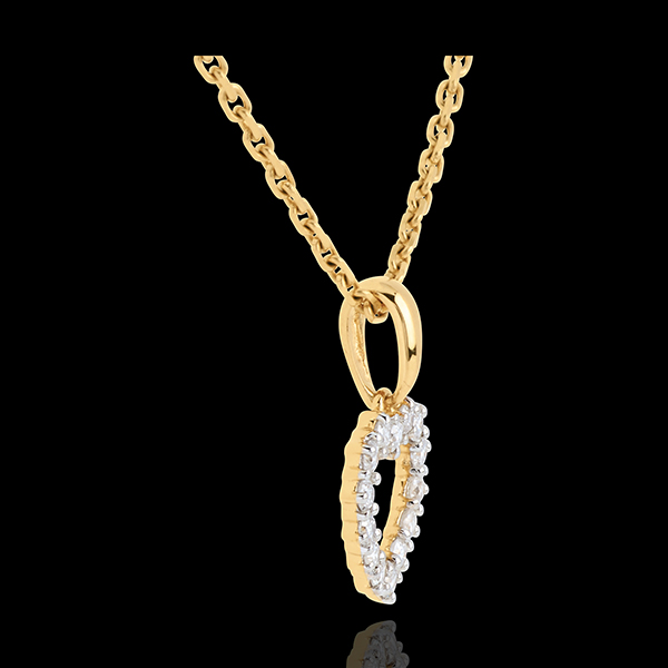 Pendentif Coeur échancré diamants - 0.25 carat - 14 diamants - or jaune 18 carats