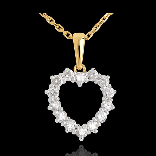Pendentif Coeur échancré diamants - 0.9 carat - 14 diamants - or blanc et or jaune 18 carats
