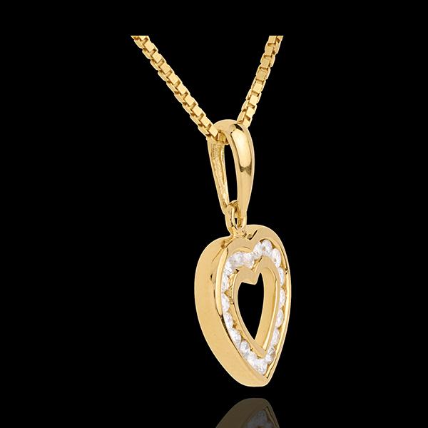 Pendentif coeur en abyme - or jaune 18 carats pavé - 18 diamants - 0.18 carat