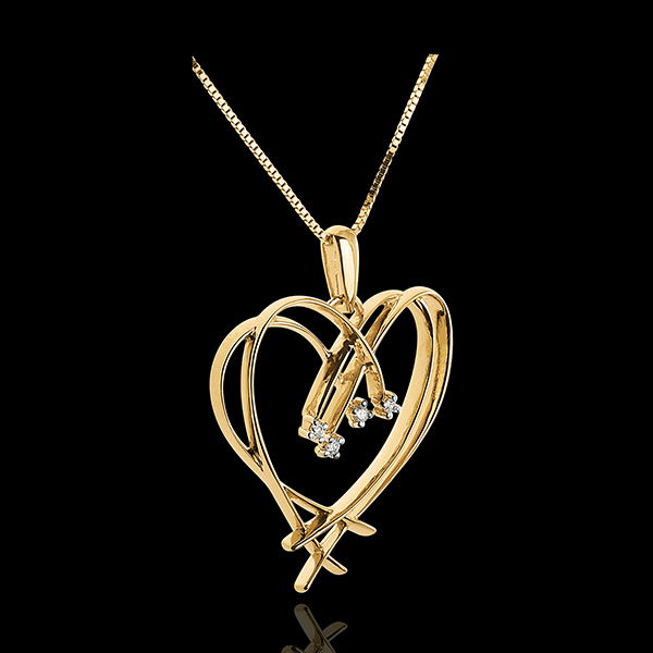 Pendentif Coeur étincelles - 4 diamants - or blanc 18 carats