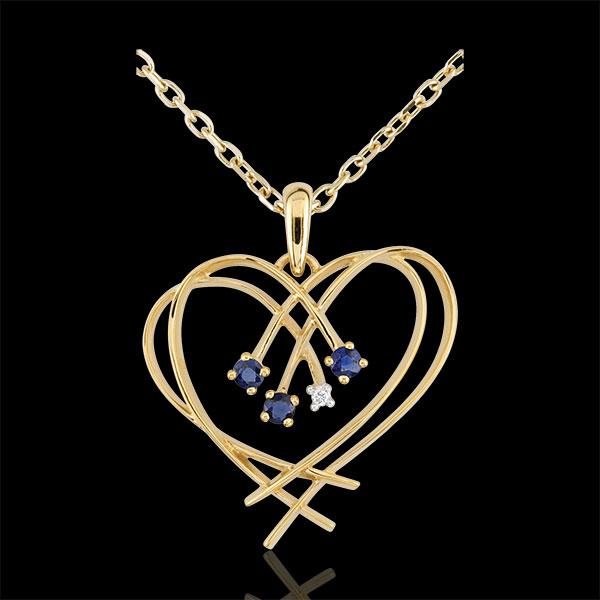Pendentif Coeur étincelles - diamant et saphirs - or jaune 9 carats