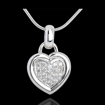 pendentif coeur pav or blanc 18 carats carat 18 diamants bijoux edenly. Black Bedroom Furniture Sets. Home Design Ideas