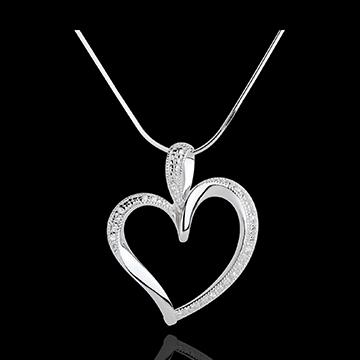 Pendentif Coeur or blanc 18 carats Arty - 10 diamants